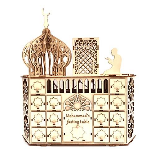 KunmniZ Calendario de adviento de madera Eid Mubarak Ramadán con luz LED para bricolaje musulmán, 30 rejillas de decoración familiar