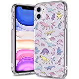BICOL iPhone 11 Case Clear with Design for Girls Women,12ft Drop Tested,Military Grade Shockproof,Slip Resistant Slim Fit Protective Phone Case for Apple iPhone 11 6.1 inch 2019 Dinosaurs