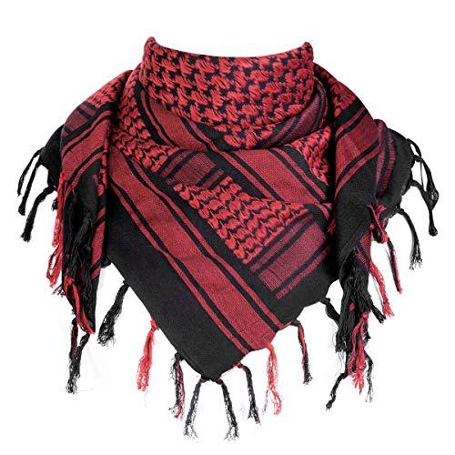 FREE SOLDIER 100% algodón Militar táctica Shemagh Desierto Keffiyeh Bufanda Wrap para Hombres y Mujeres(Negro Rojo)