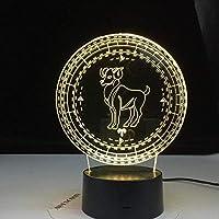 GMYXSW 子供用3DナイトライトベッドサイドランプAries12コンステレーションランプキッズナイトライトLedカラフルタッチセンサーナイトライトホームデコレーションライトバースデーギフトFHT