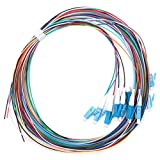 Fafeicy Pigtail de fibra óptica de 12 hilos LC/UPC Monomodo, Baja pérdida de inserción 1.5m 1310-1550nm, utilizado en LAN de fibra óptica