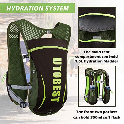 UTOBEST Running Backpack Hydration Pack Running Vests Mens 5.5L with 350ml Soft Flask