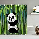 Tenda da doccia Cartone animato Curioso Baby Panda su stelo di bambù Orso Giungla Natura Design in Legno Motivo impermeabile Fodere da bagno Ganci inclusi - Idee Decorative per il bagno