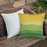 Dekokissen Kissenhülle,Abstrakt, grün und gelb gefärbt Wellenlinien Kurven Erde inspiriert...