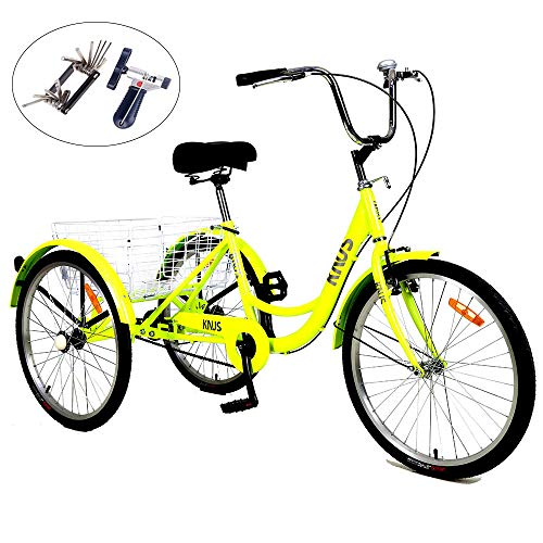 KNUS Adult Tricycle Trikes Single Speed 3-Wheel Bikes,24 Inch Wheels Cruiser Bicycles with Large Shopping Basket