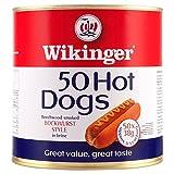 Wikinger 50 Hot Dogs Beechwood Smoked Bockwurst Stil in Salzlake