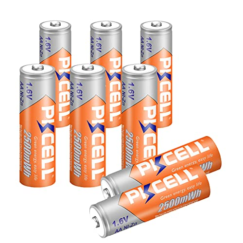 PKCELL NiZn AA Ricaricabili 1.6 V 2500 mwh Batterie 8-Pack