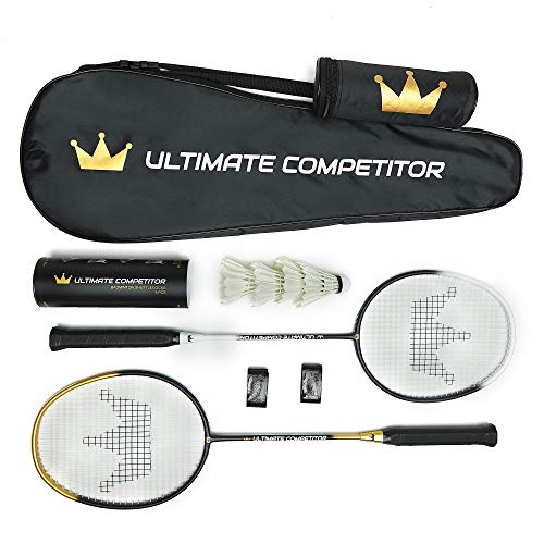 Ultimate Competitor Badminton Racket Set of 2 - Includes 2 Premium Graphite Rackets, 4 Feather Shuttlecocks, 2 Grips, and 1 Carrying Case