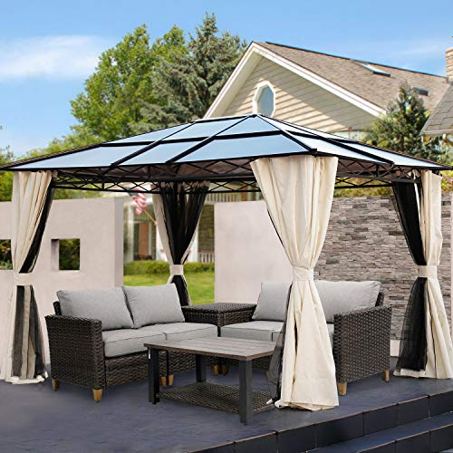 Grand patio 10x12 FT Outdoor Hardtop Gazebo Single Roof Pergolas Metal Aluminum Frame Polycarbonate Top Canopy 99% UV Rays Block with Netting and Curtains for Garden, Lawn, Backyard and Deck, Brown