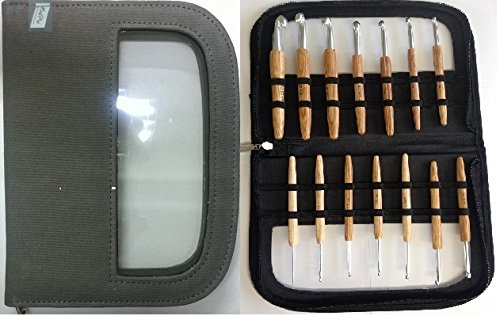 KnitPro WAVES Häkelnadel BIG Set mit Holzgriffen 14 Alu Häkelnadeln Art. 23551 / Art. 30926)
