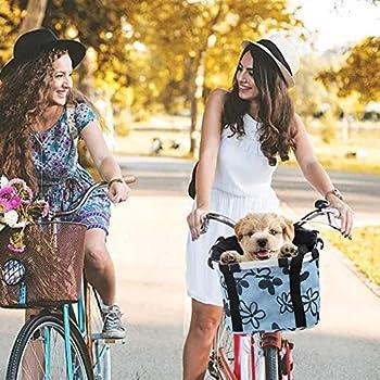 mooderff Panier de vélo Détachable Pliant Pet Carrier Amovible Guidon Panier Vélo Sac pour Pique-Nique Shopping