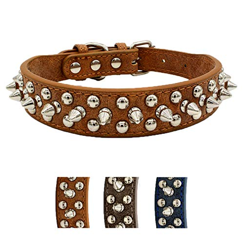 UVONOKAY Anti-bite Spiked Studded Dog Collar Adjustable Stylish Leather Dog Collar for Puppy Small Medium and Large Dogs (Shining Brown,M)