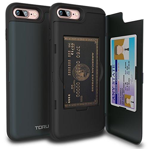 TORU CX PRO iPhone 8 Plus Wallet Case Dark Blue with Hidden ID Slot Credit Card Holder Hard Cover & Mirror for iPhone 8 Plus / iPhone 7 Plus - Metal Slate