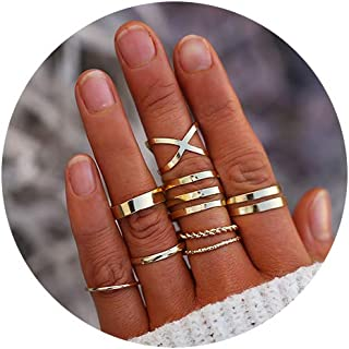 5-14 PCS Midi Rings Knuckle Stacking Multi Size Comfort...