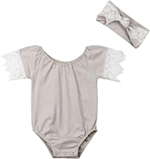 Newborn Baby Romper Girl Lace Short Sleeve Outfit Elastic Neck Cotton  Clothes Bodysuit with Headband 9119a0ad9