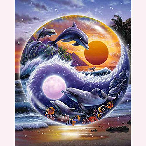 Yin Yang Dolphin DIY 5D Diamond Painting Full Diamond Home Decoration Cute Animal Handicraft Cross Stitch Embroidery Diamond Painting Adult Kit 15.75 X 19.69 Inches