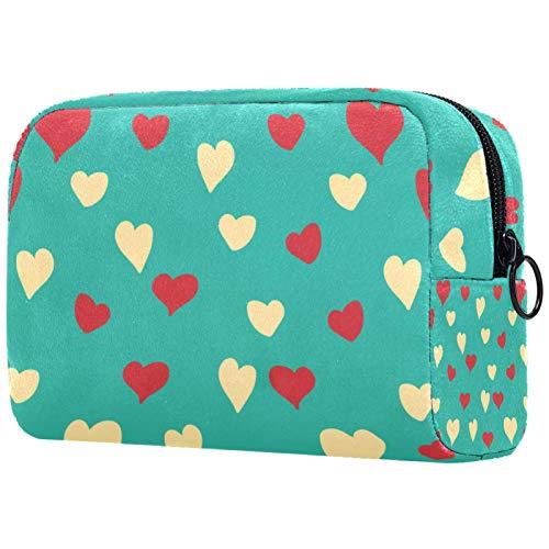 ATOMO Bolsa de maquillaje, bolsa de viaje cosmética de moda, bolsa de aseo grande, organizador de maquillaje para mujeres, lindo patrón de corazón de amor