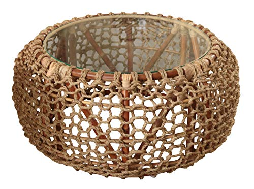 Mesa auxiliar redonda de mimbre de madera natural y cuerda hecha a mano de 85 cm de ancho para uso en exteriores o interiores, sala de estar, invernadero, jardín   Incluye tapa protectora de cristal