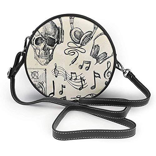 TURFED PU Runde Umhängetasche Musik Sketchy Hintergrund Hipster Totenkopf mit Kopfhörer Plattenspieler Mic Lautsprecher Print Art Theme Handtasche