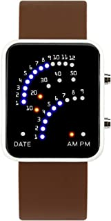 Men's and Women's Led Electronic Watch,30m Waterproof Depth Silicone Strap Calendar Month Led Watch Couple Table Retro Student-E