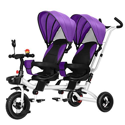CHEERALL Doppel Kinderwagen Kinder Doppel Dreirad Sommer Leichte Atmungsaktive Kleinkind Kinderwagen Doppel Buggys für Kinder von Geburt bis 4 Jahre alt,A