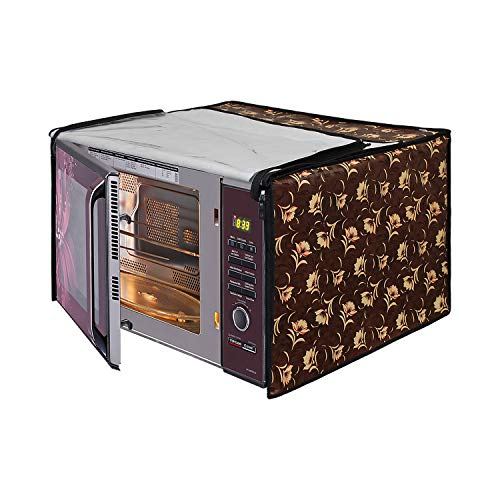 Glassiano Floral Brown Printed Microwave Oven Cover for Samsung 23 Litre Solo...