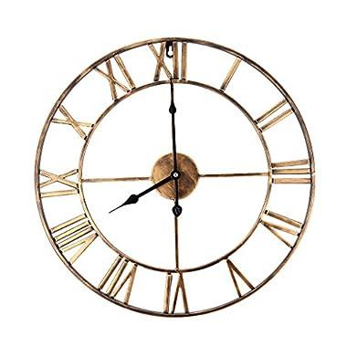 Baoblaze Round Big Display Clock Retro Roman Rustic Wood 16x2Inch Silent Slip Wall Clock, for Balcony Kitchen Living - Gold