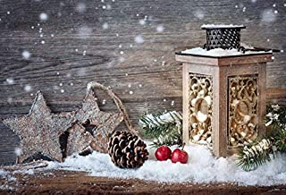 Aliyz Vinilo 6x4ft Feliz Navidad Telón de Fondo Fotografía Fondo Navidad Fruta Seca Vintage Linterna Patrón de Estrella Copo de Nieve Textura de Pared de Madera Vintage Telón de Fondo Photo Studio