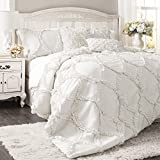 Lush Decor Comforter Ruffled 3 Piece Set with Pillow Shams-Full Queen-White