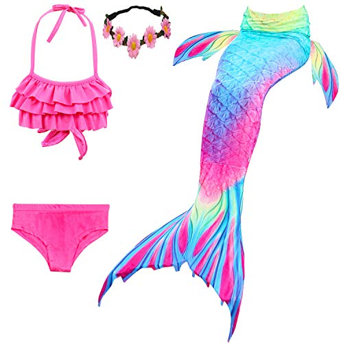 Kokowaii Fancy Girls Mermaid Tails for Swimming Girls Mermaid Swimsuits Pink+Rainbow,7-8 Years,Tag 130cm