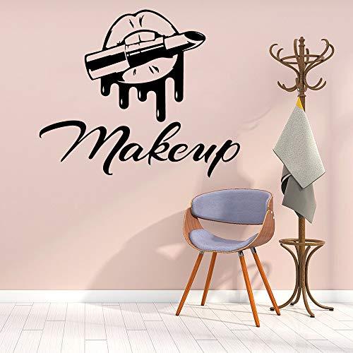 Salón de belleza Maquillaje Logotipo Signo Labios atractivos Boca Lápiz labial Etiqueta de la pared Vinilo Arte Calcomanía Chica Dormitorio Sala de estar Tienda de cosméticos Estudio Decoración p