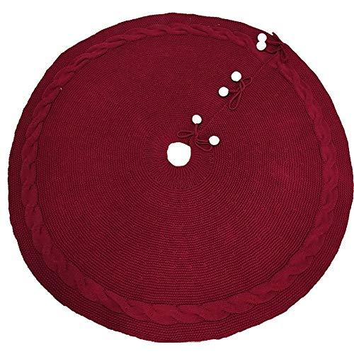 ZhujiaN Weihnachtsbaum Röcke gestrickte Reine Wolle-Wein-Rot Weihnachtsbaum-Rock-Weihnachtsbaum-Rock (Size : Claret)