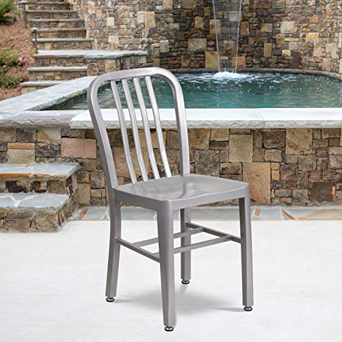 Flash Furniture Commercial Grade Silver Metal Indoor-Outdoor Chair