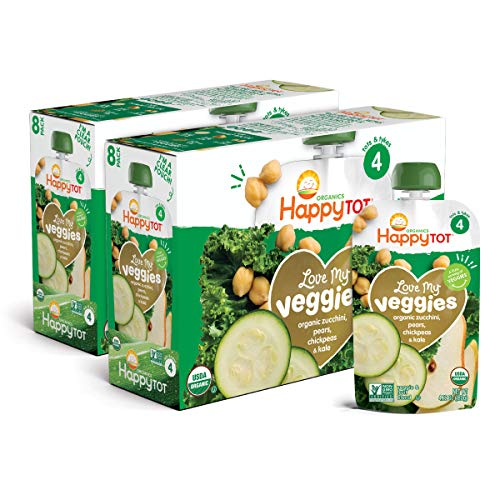 Happy Tot Organics Love My Veggies Stage 4, Zucchini, Pear, Chickpeas & Kale, 4.2 Ounce Pouch (Pack of 16) packaging may vary