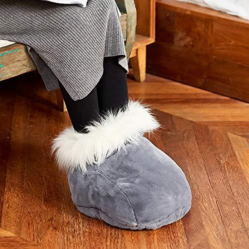 Elektrischer fußwärmer, Waschbar heizkissen wärmekissen stiefel mit 2 temperaturstufen Dicker Plüschstoff Aufheizbare Hausschuhe Wärmehausschuhe-Grau