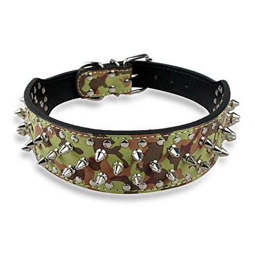 brand_seq_id:null.int, Berry Berry Spiked Studded Leather Dog Collar - 40 Bullet Spikes Studded XL Camo, Camo