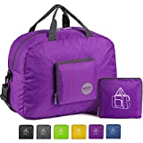 WANDF Foldable Travel Duffel Bag Super Lightweight for Luggage, Sports Gear or Gym Duffle, Water Resistant Nylon (25L Plum)