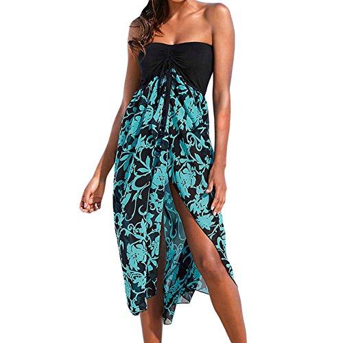 Uranus Damen Strandtunika Poncho Bikini Kleid Chiffon Sommerkleid Beachwear Blumen Druck Cover-up