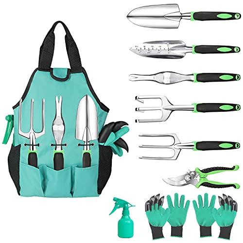 Hauyate 10-teiliges Gartenwerkzeuge-Set,Hochleistungs-Aluminium, Gartengeräte für die Gartenarbeit, mit ergonomischem Griff, strapazierfähige Aufbewahrungstasche, Geschenk für Frauen und Männer