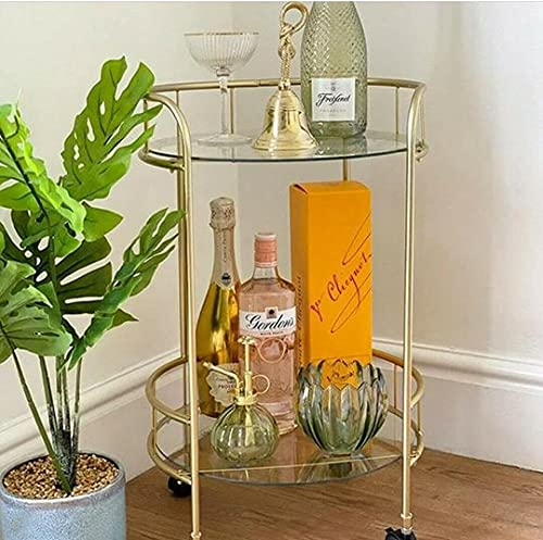 Spot on dealz® Drinks Trolley Gold with Two Glass Shelves Mini Bar Cart...
