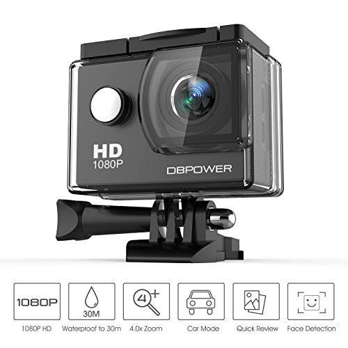 DBPOWER® Action Camera impermeabile 1080P HD 12MP KIT 2 Batterie ed accessoristica varia (Nero)