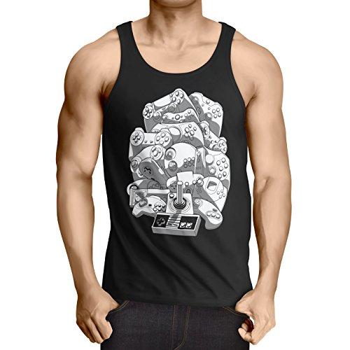 A.N.T. Another Nerd T-Shirt A.N.T. Gamer Madness Débardeur Homme Tank Top Console de Jeux Retro Gamepad Jeu vidéo, Taille:XL, Couleur:Noir