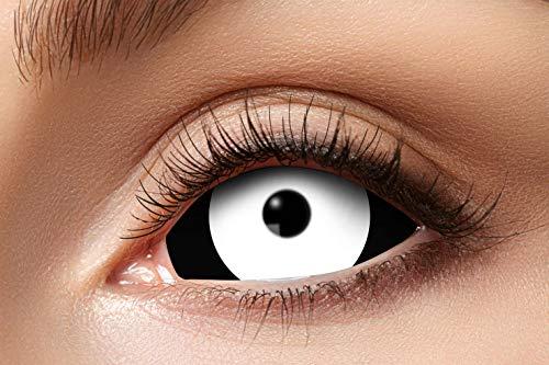 Eyecatcher 84091541.s05 - Farbige Sclera Kontaktlinsen, Schwarz & Weiß, Farblinsen, 6 Monate, weiche Linsen, ohne Sehstärke, 2 Stück, Motivlinsen, Halloween, Karneval, Fasching
