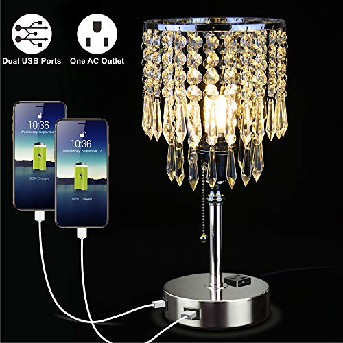 Focondot Crystal Table Lamp,Elegant Decorative Nightstand Lamp with Dual USB Charging Ports and One AC Outlet,Modern Bedside Lamps for Bedroom, Living Room,Kids Room,Guest Room