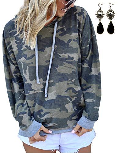 BOUYDM Mujer Sudadera con Capucha Manga Larga de Algodón Estampado Camuflaje Suéter Encapuchado Camiseta Tops Pullover Gris L