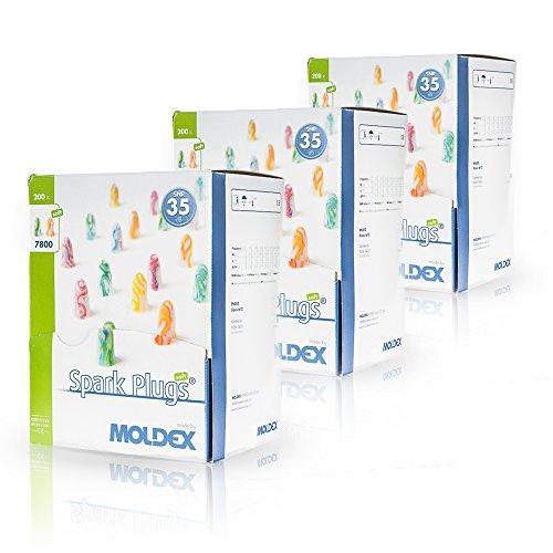 200 Paar Ohrstöpsel/Gehörschutzstöpsel – Spark Plugs Soft (7800) von Moldex - Gehörschutz mit SNR 35dB - Paarweise hygienisch und praktisch verpackt