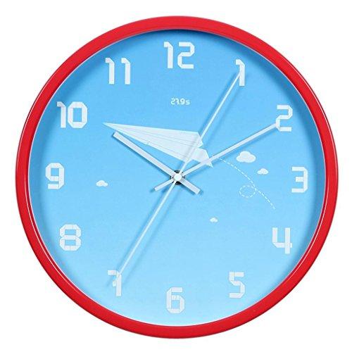 WALL CLOCK Creative Design Rond Métal Salon Chambre Enfants Chambre à Coucher Calme Mur d'horloge, Red