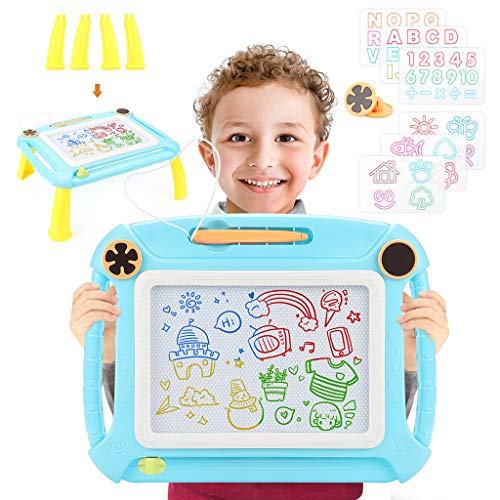 BEAURE Magnetic Doodle Board Erasable Drawing Writing Magna Sketching Pad with Detachable Legs Gift Toy for Kids Toddler(Blue