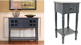 Decor Therapy Accent Table, Antique Navy & Simplify One Drawer Square Accent Table, Antique Navy
