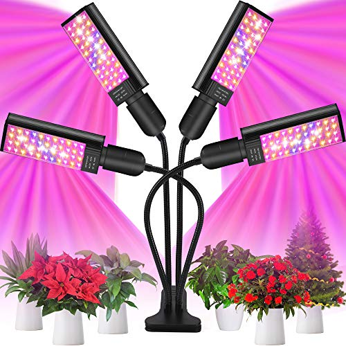 LED Grow Light for Plants - Four Heads Plant Light 96W Full Spetrum 176 LEDs Lamps Red/Blue/Yellow Spectrum, 3/6/12H Timer, 6 Dimmable Level, 4 Switch Modes, Adjustable Gooseneck for Indoor Plants
